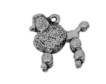 Poodle Charm, Poodle Jewelry, Silver Plated Poodle Dog Charm, Poodle Bracelet Charm, Pewter Poodle Charm