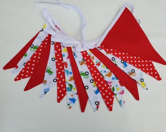 Fabric Bunting - 3 m/10 ft  with 15 flags - Red White Tractors Butterfly Cotton Nursery Decor Baby Garland Banner Novelty Bunting