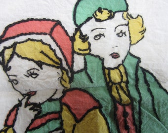 Vintage Tinted Embroidery Pillow Cover Girl Boy Charming