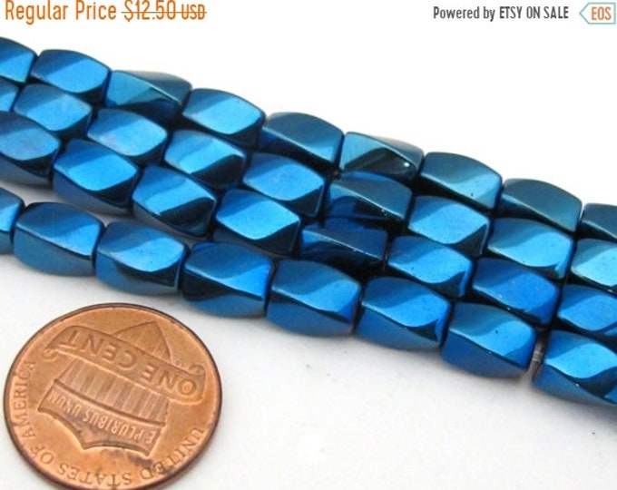 SALE 108 beads  - Electrifying Blue color magnetic hematite gemstone Beads  - Mala supplies - GM411s