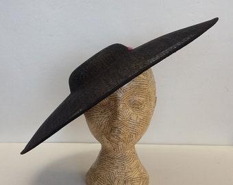 Large Oval hat - Black - millinery supplies, millinery, hat base, fascinator, races, weddings, Kentucky derby