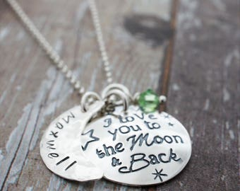 Personalized I Love you to the Moon & Back Necklace - Mother's Jewelry with Child's Name and Birthstone in Sterling Silver