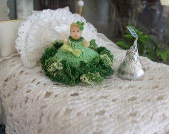 Miniature DOLLHOUSE THREAD Crochet Bed Doll Irish Lass