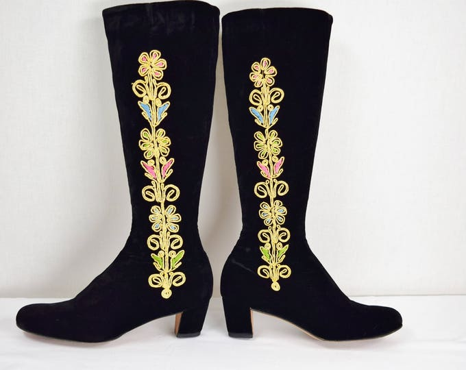 Rare Vintage 1960's BETH'S BOOTERY  Saks Fifth Ave. Beth Herbert Levine Embroidered Black Velvet Go Go Tall Boots 7 7.5 Boho HIppie Ethnic
