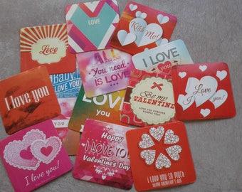 15 stickers label sticker stamp sticker square sticker - kawaii vintage love heart - scrapbooking card gift