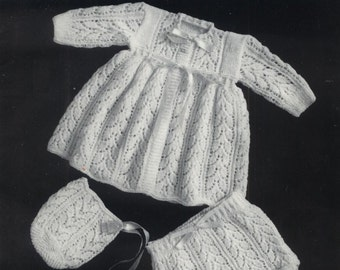 Vintage Pdf Baby  Knitting Patterns - Hughes 226 - 3ply Matinee Jacket Hat & bootees        3 styles             1-6months