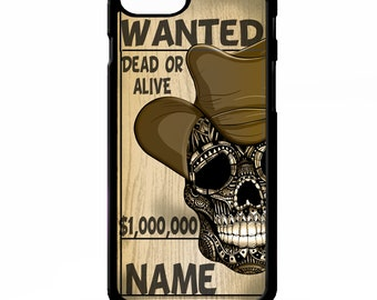Cowboy wanted poster dead or alive graphic personalised name cover for iphone 4 4s 5 5s 5c SE 6 6s 7 8 plus X phone case