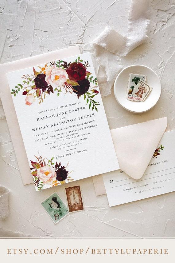 Floral Burgundy Wedding Invitation Spring Wedding Invitation