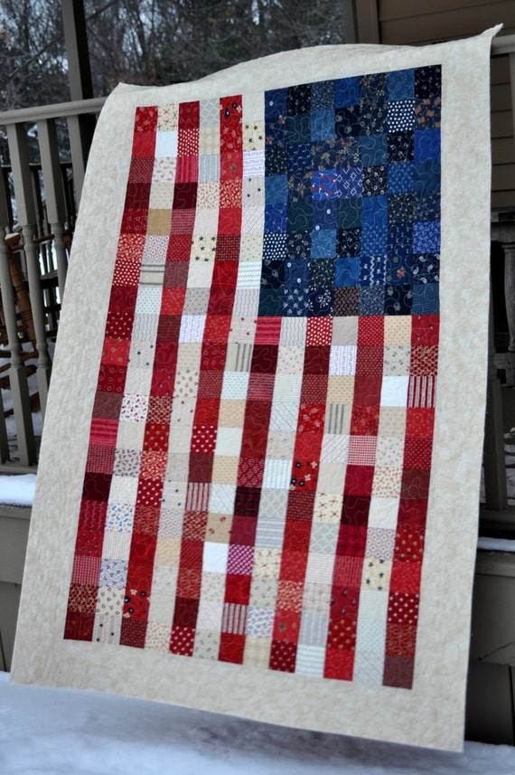 Beautiful American Flag Patch Quilt Fabric Kit Patriotic