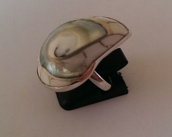 Handmade Solid 925 Sterling silver and white nautilus ring.