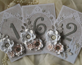 Peach fairy tale wedding table numbers, fairytale decorations, peach and grey wedding, peach and silver , ANY COLOUR AVAILABLE