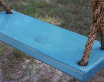 Wooden Blue Tree Swing, Double Rope