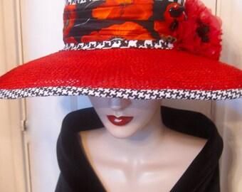 Widebrim Capeline Hat with Poppies