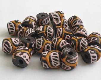 Brown African Beads, Recycled Glass, Ghana Krobo  0-11 mm, One Pack of of 20