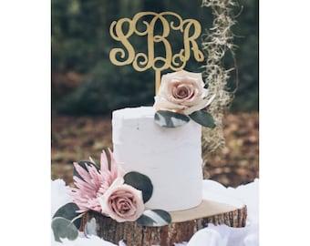 WOOD INITIALS CAKE Topper / Wedding Cake Topper / Birthday Cake Topper
