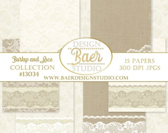 DIGITAL WEDDING INVITATION: Burlap and Lace Digital Paper, Ivory and Taupe Lace Digital Paper, Lace Digital Paper, Dentelle, 5x7 inches