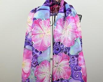 Hand painted silk scarf - Purple Allure- flower scarf-purple flowers- purple scarf-designer scarf
