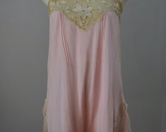 Vintage 1920s 30s Teddy Step In Slip Pink Lace Lingerie S/M
