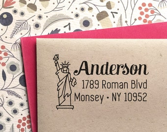 Custom Return Address Stamp with Statue of Liberty weddings, save the date , housewarming gift, rubber stamp, self inking stamp