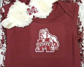 Mississippi State Bulldogs Baby Bodysuit and Shabby Flower Headband Set