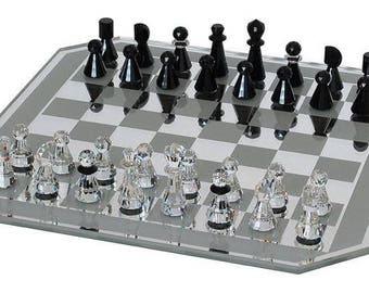 Swarovski Silver Crystal Chess Set New In Box