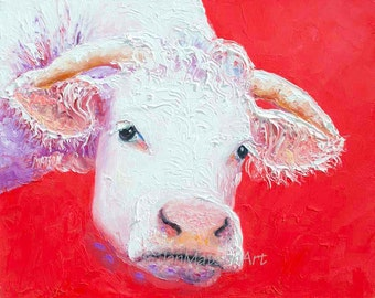 COW art, FRAMED Kitchen art, Animal Art, kitchen wall decor, western home decor, country home decor, cow with horns, Etsy nursery art