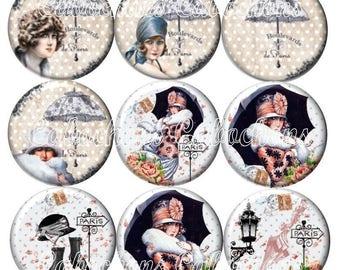 Set of 9 18mm glass cabochons, Lady of Paris, umbrella, vintage ZC232