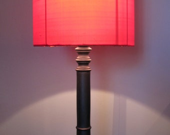 cylindrical lamp red silk