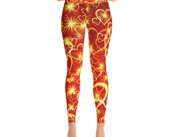 Heart Pattern Red Gold Yellow Valentines Day Love Yoga Pants Leggings