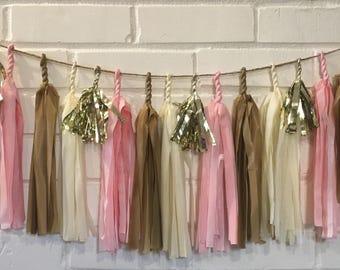 Blush Pink Tassel Garland - Blush Pink & Gold Garland - Wedding Tassel Garland - Bridal Shower Garland - Baby Shower Garland