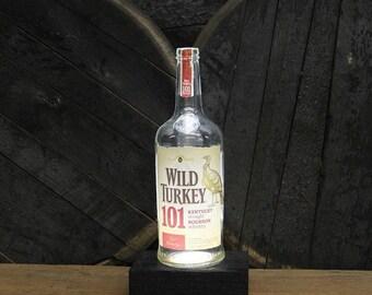 Wild Turkey Bourbon Bottle Light / Reclaimed Wood Base / Whiskey Bottle Lamp / Handmade Bourbon Gift / Upcycled Bourbon Bottle Lighting