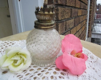 Vintage small OIL LAMP hobnail clear glass with wick.