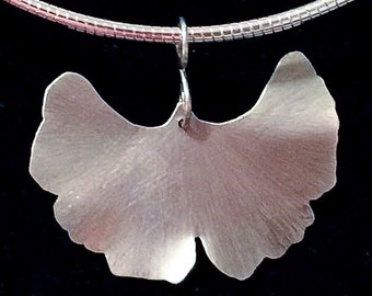 Mother's Day Gift Sterling Silver Ginkgo Leaf Pendant - Exuberance