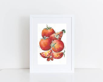 Kitchen Art, Original Watercolor fruit painting, Watercolor Tomato illustration, Watercolor Tomato Painting, Watercolor fruit illustration
