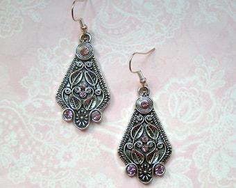 Earrings Rhinestone Purple Silver