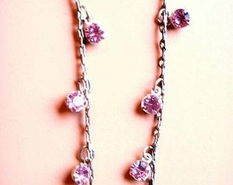Pink Vintage Earrings, Retro Jewelry, 1980s Earrings, Long Drop Earrings, Pink Gems, Pink Zircon, Gift for Her