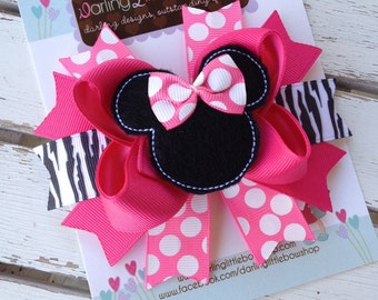 Miss Mouse Bow - Bright Hot Pink and Zebra Miss Mouse Bow with optional headband - Darling Little Bow Shop