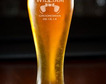 Beer Glass, Groomsmen Gift, 11 Custom Beer Glasses, Personalized Beer Glass, Pilsner, Wedding Gift, Birthday Gift, Monogram.