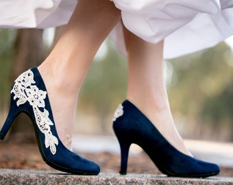 Wedding shoes blue etsy navy blue wedding shoes bridal shoes low wedding heels blue pumps low junglespirit Images