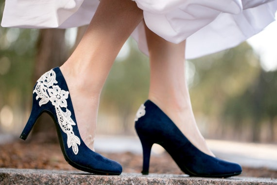 Navy blue wedding shoes bridal shoes low wedding heels blue like this item junglespirit Choice Image