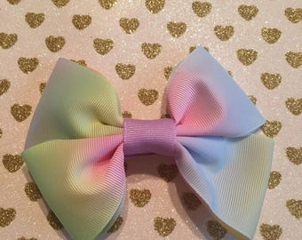 Rainbow Hair Clip Bow