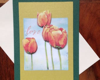 handmade card, 3D, collection flowers: Tulip, birthday, thank you, all occasions, happy birthday card,