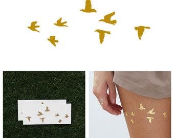 Flock Yeah - Metallic Gold Temporary Tattoo (Set of 2)
