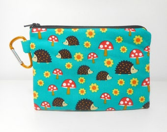 Hedgehog Change Purse, Zipper Pouch with Carabiner Coin Purse