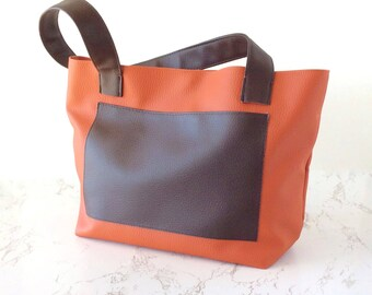 Small vegan leather bag, brown tote purse small vegan purse, orange tote bag small shoulder purse vegan, ethical bag, animal lover gift