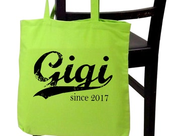 Gigi since ANY year, personalized tote bag, grandmother tote, screen print tote, new grandma gift, great grandmother gift