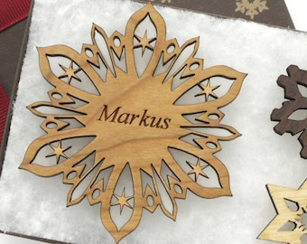 Personalized Ornament - Holiday Snowflake Gift Box Set - Custom Engraved Wood Snowflake - Cherry Wood - Christmas Gift - U.S.A.