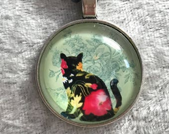 Black cat flower kitty  bead woven necklace