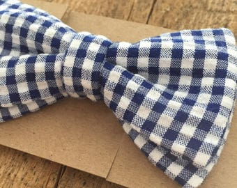 Bow tie, adult, child, baby, adjustable, Chic, trendy shirt, dress, Occasion, wedding, pre-tied, blue, white, plaid