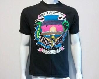 Vintage Sun and Surf Run T-Shirt 1990 Ocean Shores Washington Size Medium